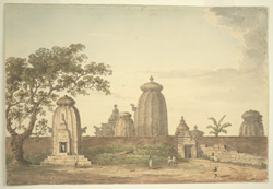 General view of temples at Bhuvaneswar (Orissa). July 1820